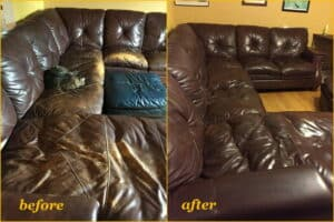 Before and after of mahogany color restoration on leather couch.