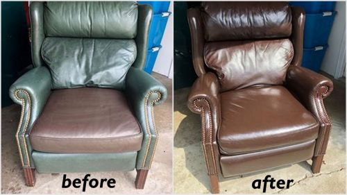 Wingback leather chair that has been recolored with mahogany dye. Before and after photo.