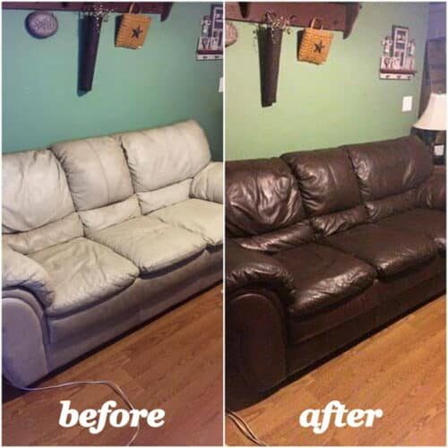 Before and after photo of a white couch dyed mahogany color