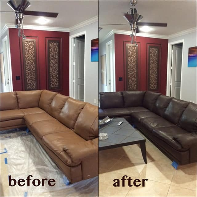 Before and after photo of mahogany sectional restoration