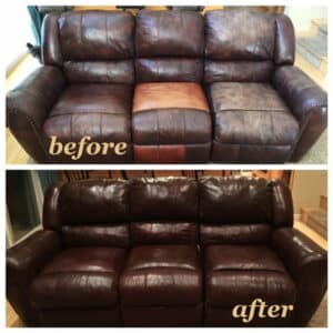 Before and after photo of a couch restored with mahogany color