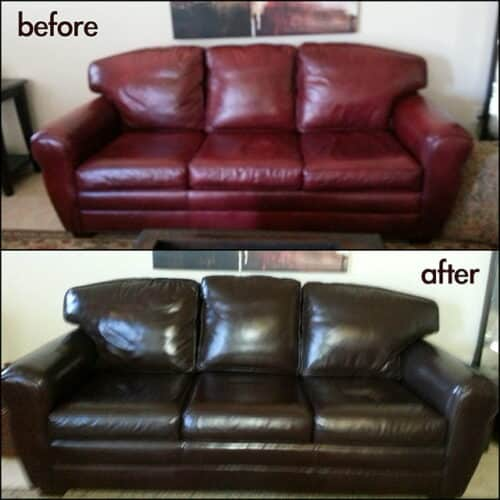 Before and after photo of a couch recolored from red to mahogany