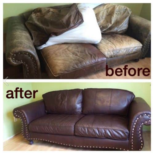 Before and after photo of a leather couch that has been recolord.