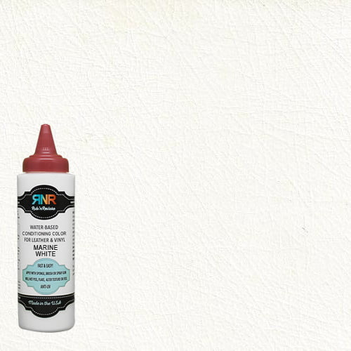 Picture of Rub n Restore bottle over marine white leather & vinyl color