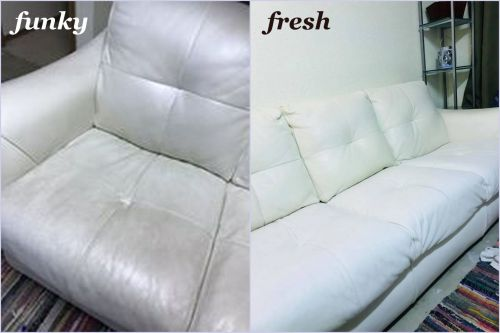 Before and after photo of leather sofa that has been restored with white dye.