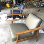Picture showing mid century modern chairs before and after color change side by side