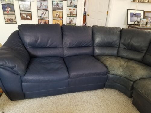 Picture of worn leather sectional, half restored with Midnight Blue Rub n Restore