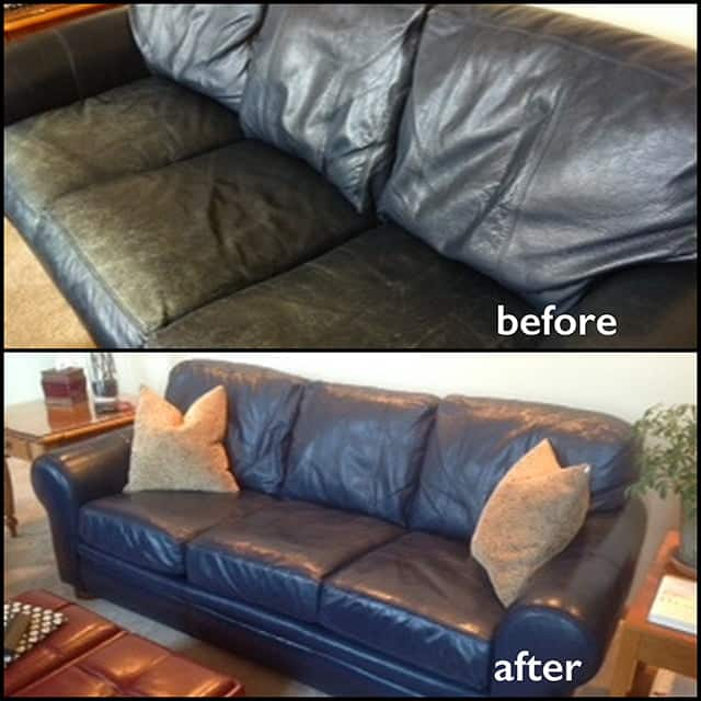 Before and after restoration photos of a leather couch