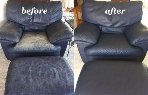 Before and after photo of a leather chair that has been restored with dark blue color.