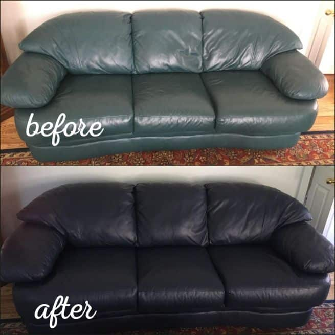 Before and after photo of a leather couch recolored from teal to navy blue.