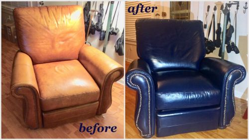 Before and after photo of a tan chair that has been recolored to dark blue.