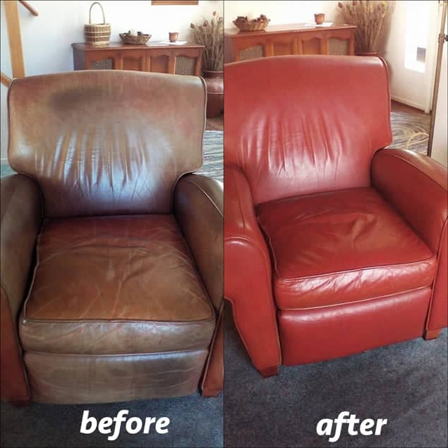 Before and after photo, leather chair restored and recolored red