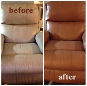 A leather chair recolored from ivory to mocha, before and after