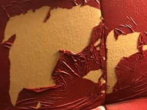 Photo of peeling polyurethane leather