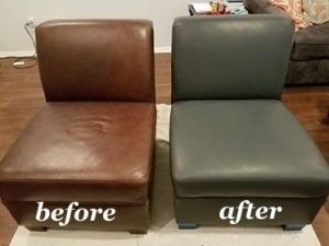 before and after photo of a leather chair recolored from brown to peppercorn.