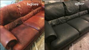 Before and after photo of a sofa recolored with peppercorn dye
