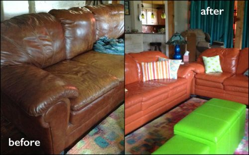 From brown to persimmon color change on leather couch, before and after photo