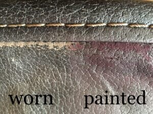 Picture of worn faux leather fabric painted with RubnRestore to conceal microfiber