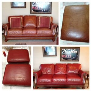 Collage showing before and after photos of faded couch restored with Rub n Restore Red Chili