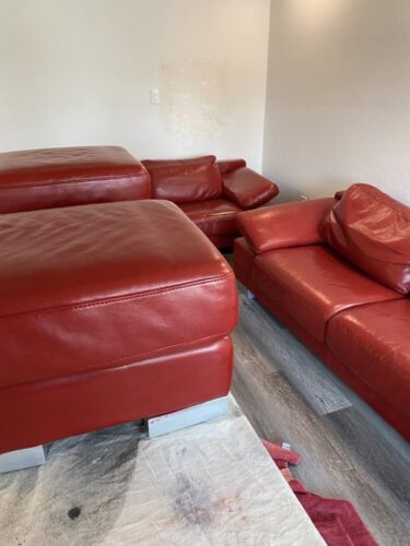 Picture of leather furniture refinished with Red Chili RubnRestore