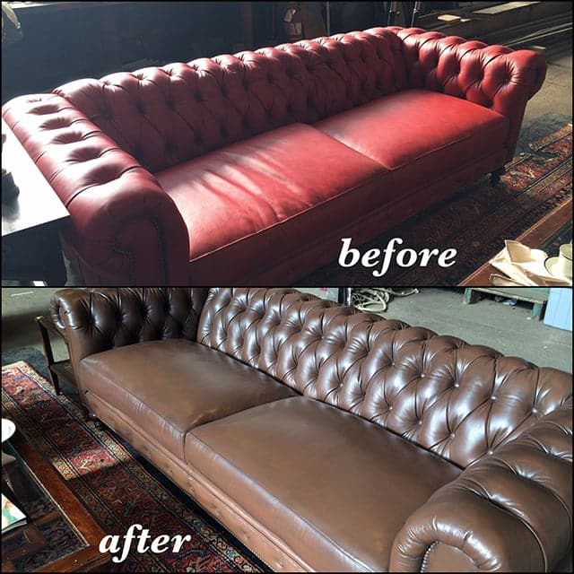 Before and after photo of a Chesterfield sofa changed from red to walnut color