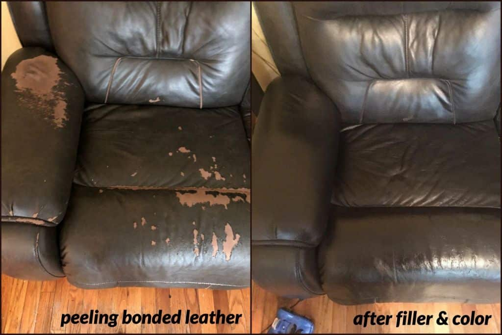 Image of peeling bonded leather seat repaired with filler and Rub n Restore