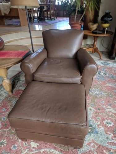 Picture of leather chair and ottoman after repair and Walnut Rub n Restore