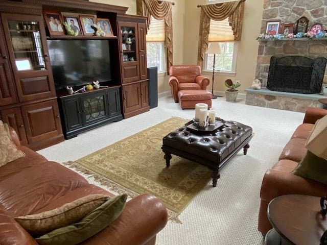 Photo of a living room with a restored natuzzi furniture set - sofas & chair