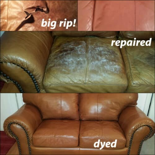 Repaired rips and recolor of loveseat
