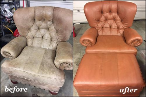 Rust color used to dye a leather chair before and after photos