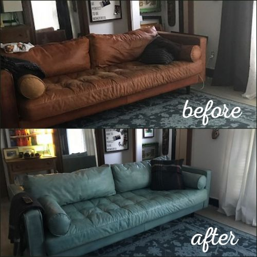 Before and after of a sofa that has been recolored with a custom dye.