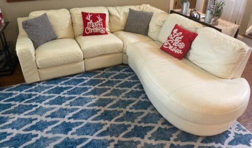 Leather sectional repaired and restored with Ivory Rub n Restore
