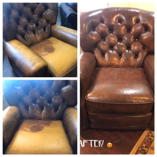 Collage of tufted leather chair before and after Rub n Restore