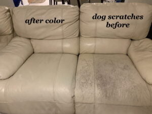 Picture of leather loveseat scratched by dogs and repaired with Rub n Restore