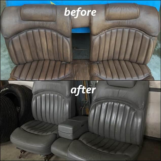 Vinyl seats in rat rod hot rod restored using slate medium gray leather dye. Before and after.