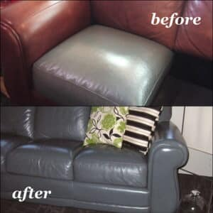 Before and after photo of leather couch recolored with slate