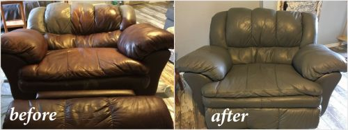 Before and after photo of brown chair recolored to grey.