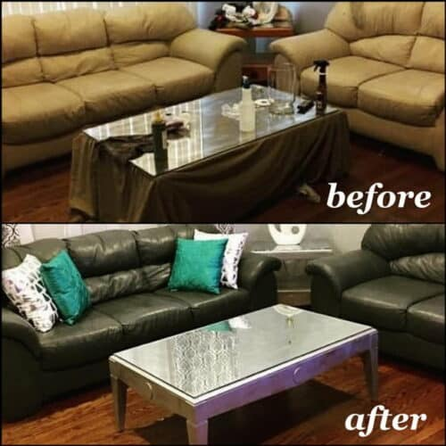 Before and after photo of couch dyed with slate color