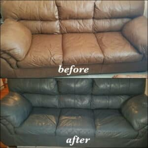 A sofa recolored with slate dye, before and after