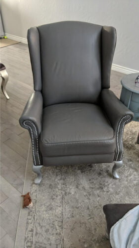 Picture of slate grey leather wingback chair
