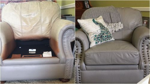 Leather chair that is recolored with stone grey.