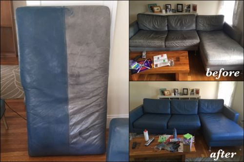 Leather couch that has been restored with storm blue color, before and after photo