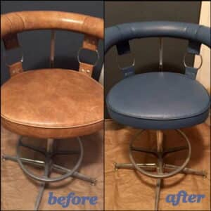 A bar stool that has been colored from brown to blue, before and after photo