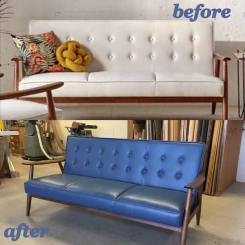 Before and after photo of a white couch dyed storm blue color