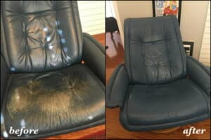 A leather chair that has been restored with blue color, before and after photo