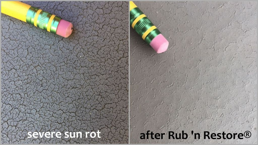 Before and after photo of sun rotted marine vinyl hot tub cover and protected with Rub n Restore