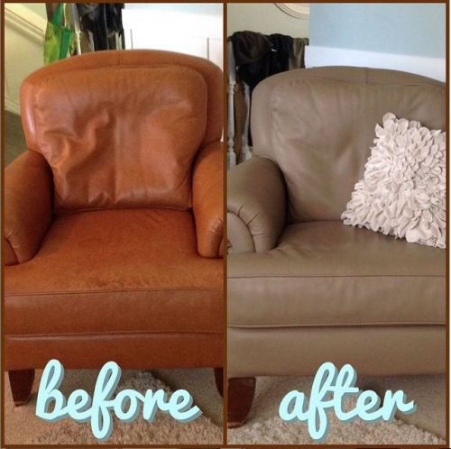 A chair that has been changed to taupe from brown, before and after photo
