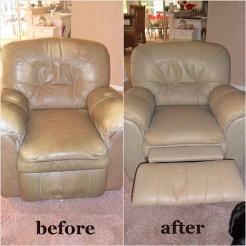 Before and after photo of a leather chair restored with Taupe color.