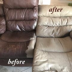 Before and after photo of a chair recolored with Taupe dye.