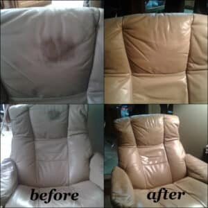 Before and after photo of a leather chair restored with Taupe color